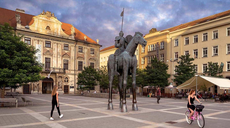 Moravian Square (Moravské náměstí) in Brno, statue of Jošt of Luxemburg