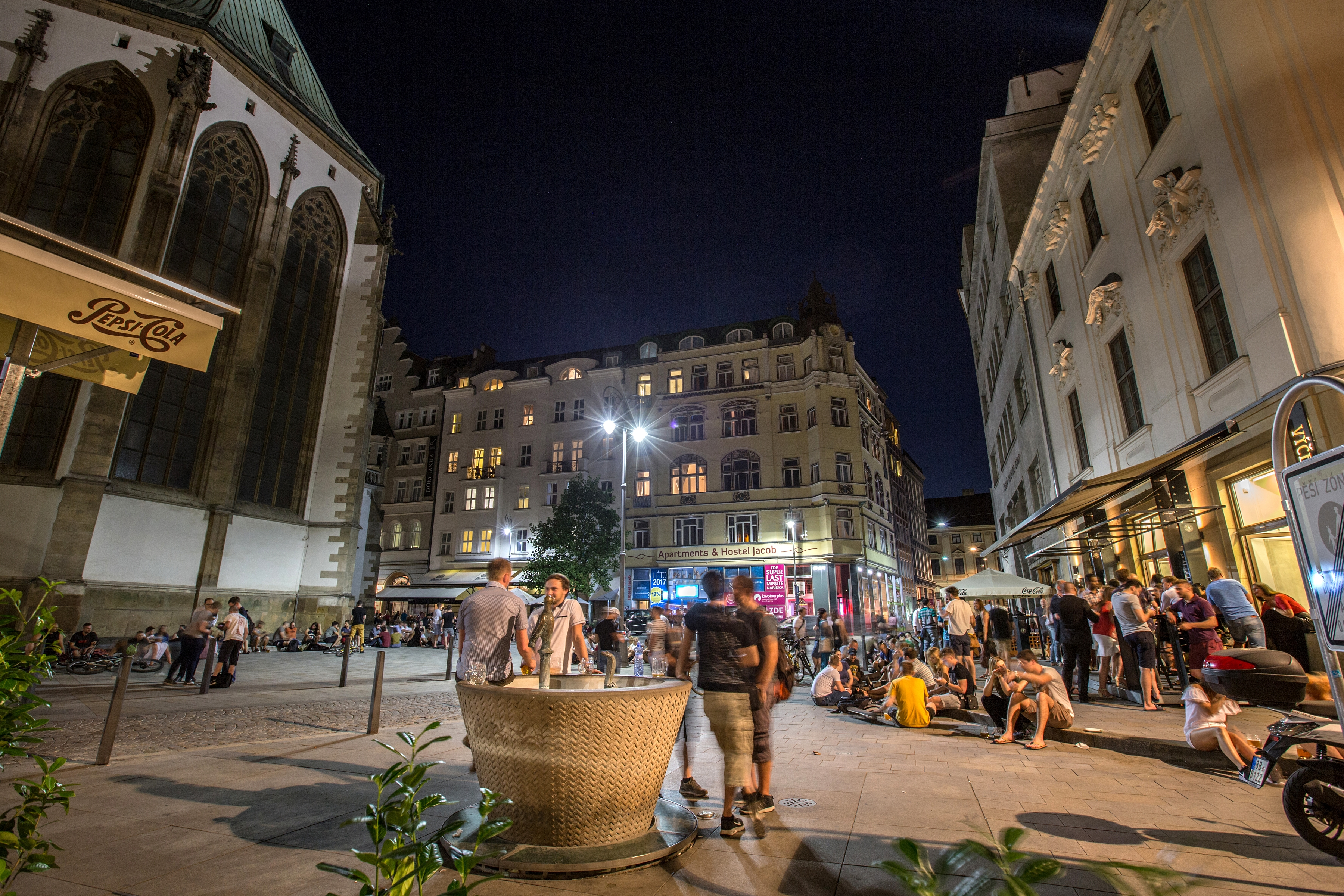St James' Square in Brno at night.
