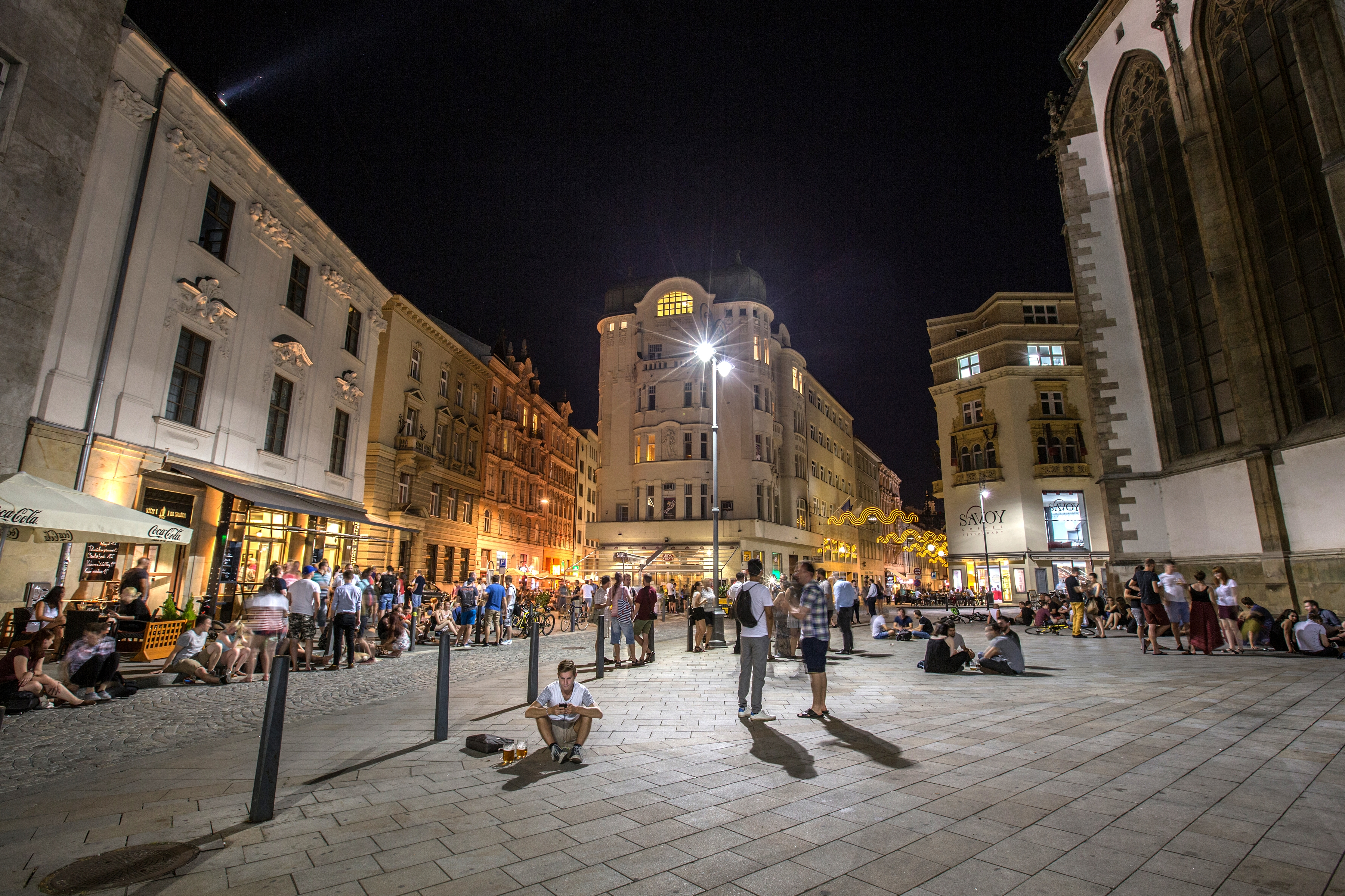 St James' Square in Brno. Night live.