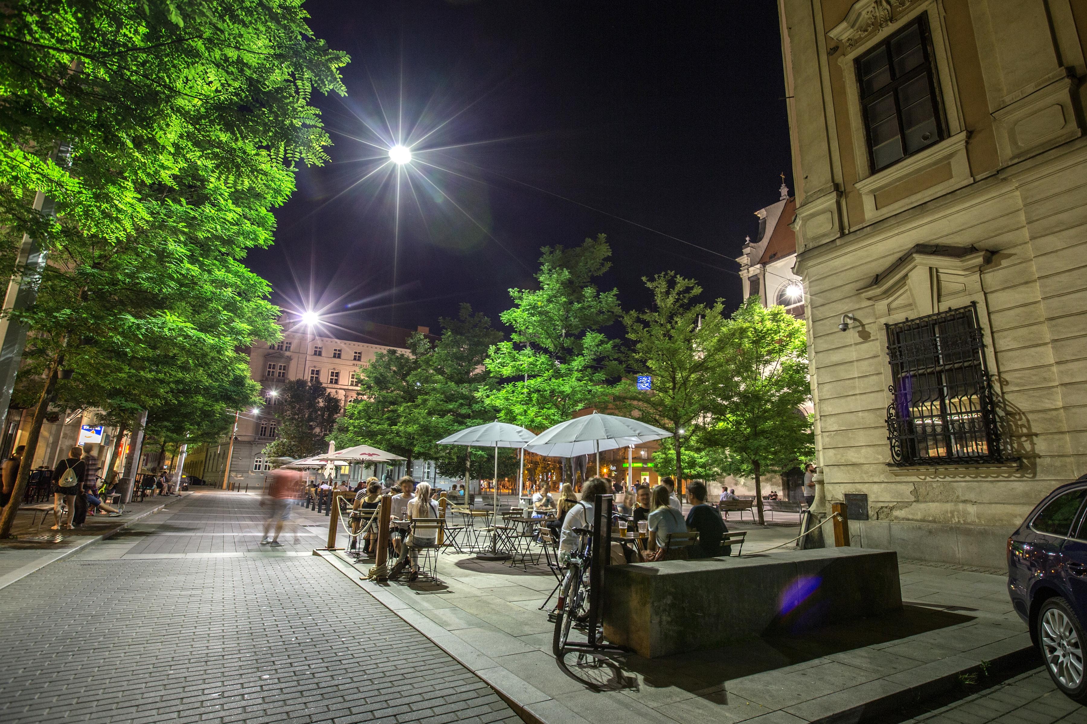 Moravian Square in Brno, Czech republic. Night live.