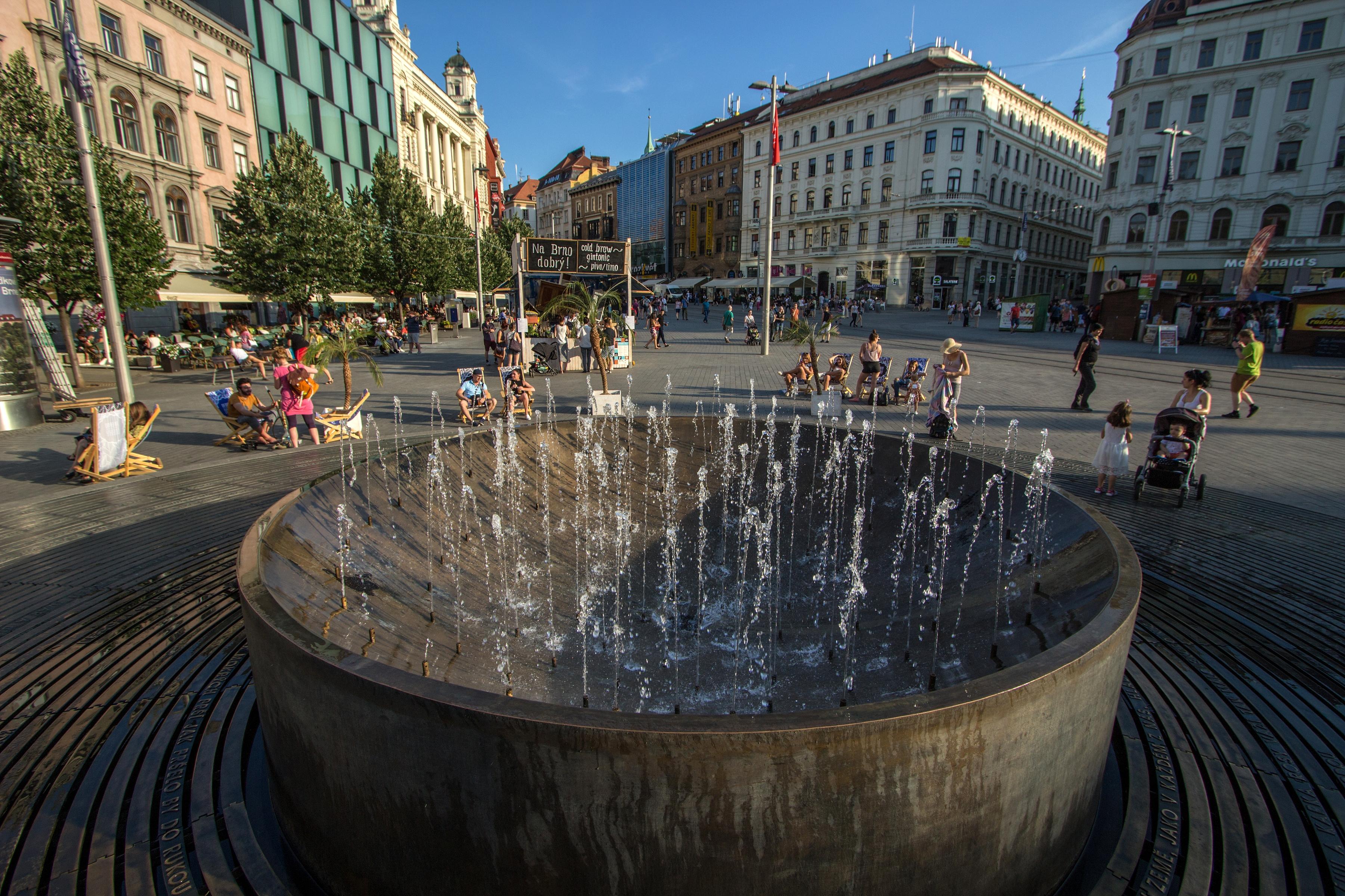 Freedom Square (náměstí Svobody) in Brno, a bronze fountain
