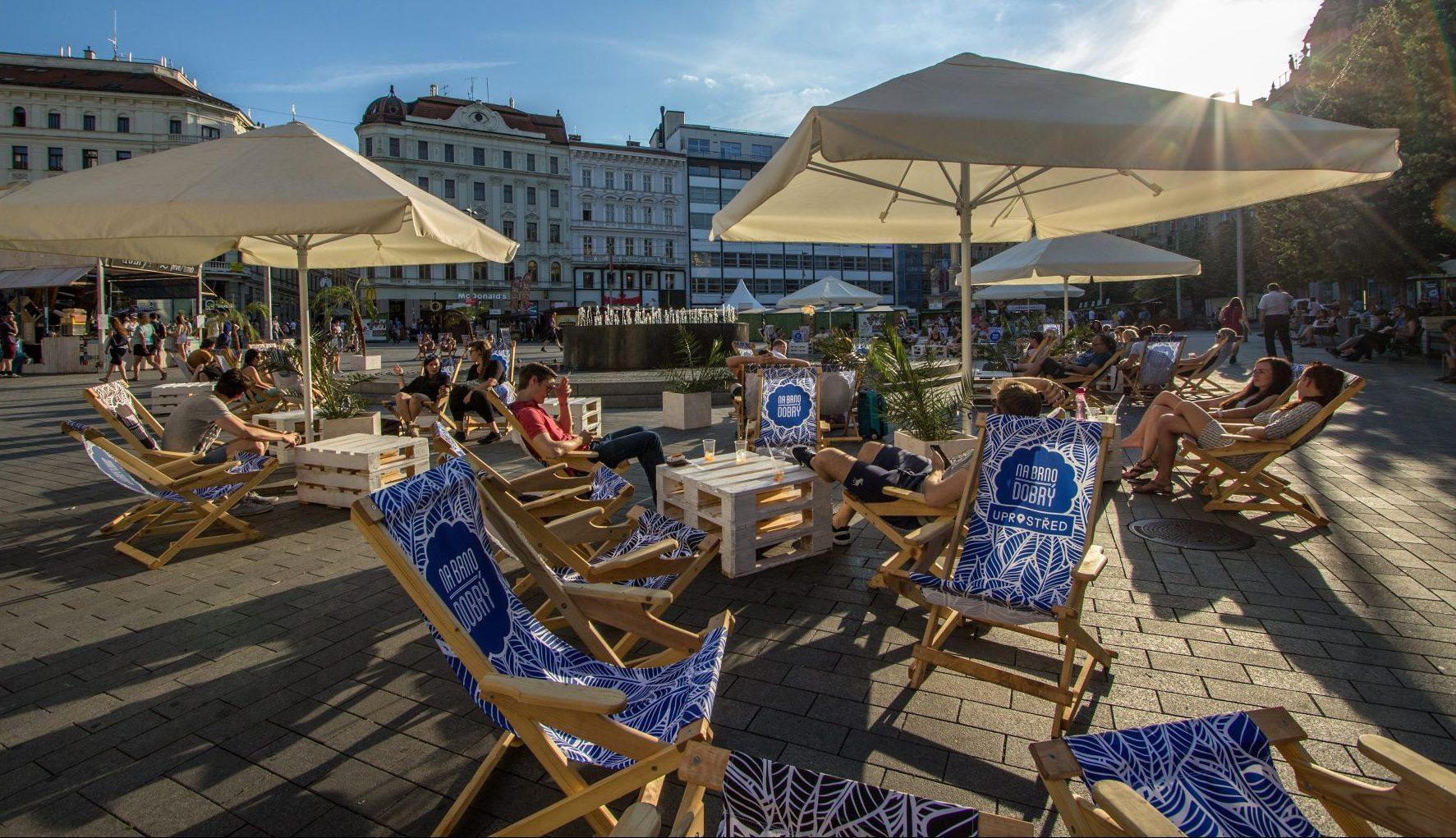 Freedom Square (náměstí Svobody) in Brno in summer.