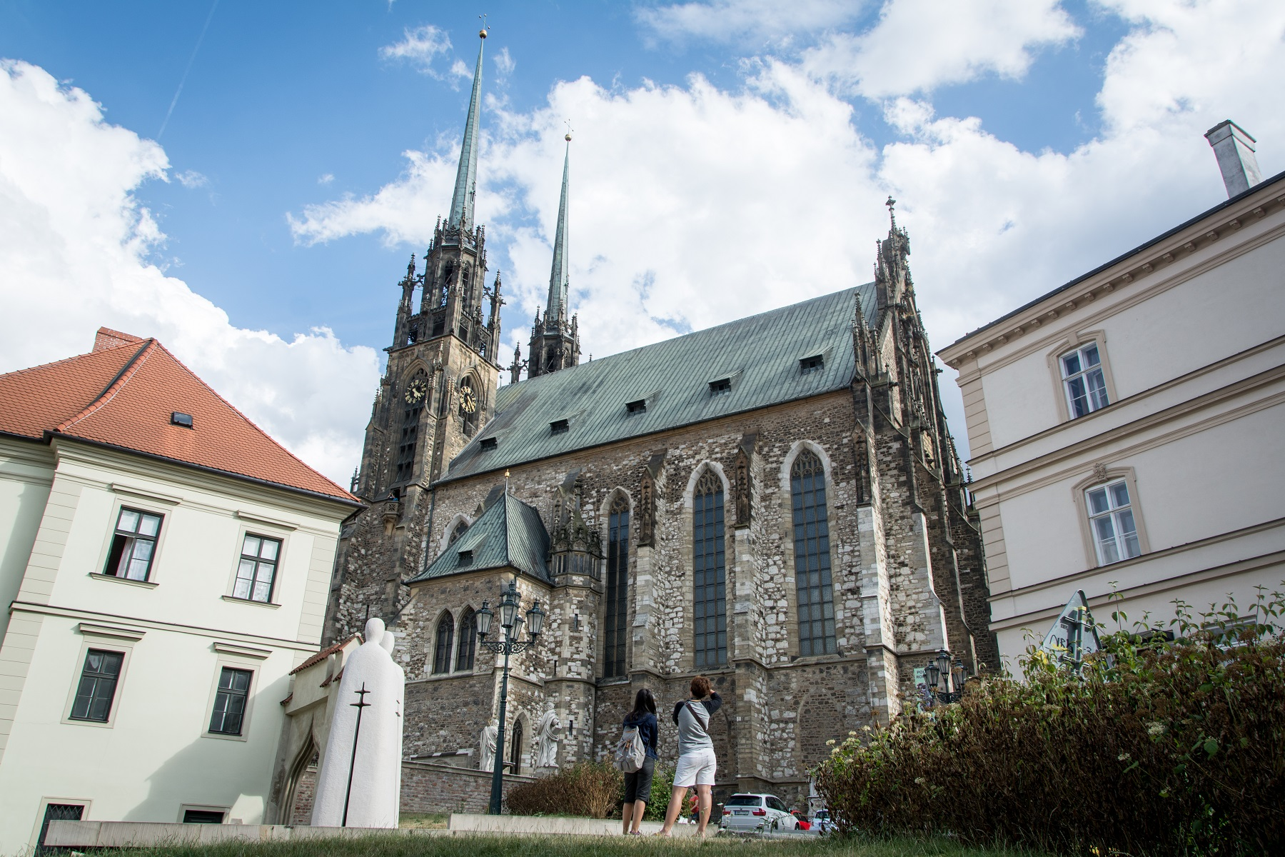 Cathedral of Saints Peter and Paul dominating the city from a top Petrov Hill in Brno.