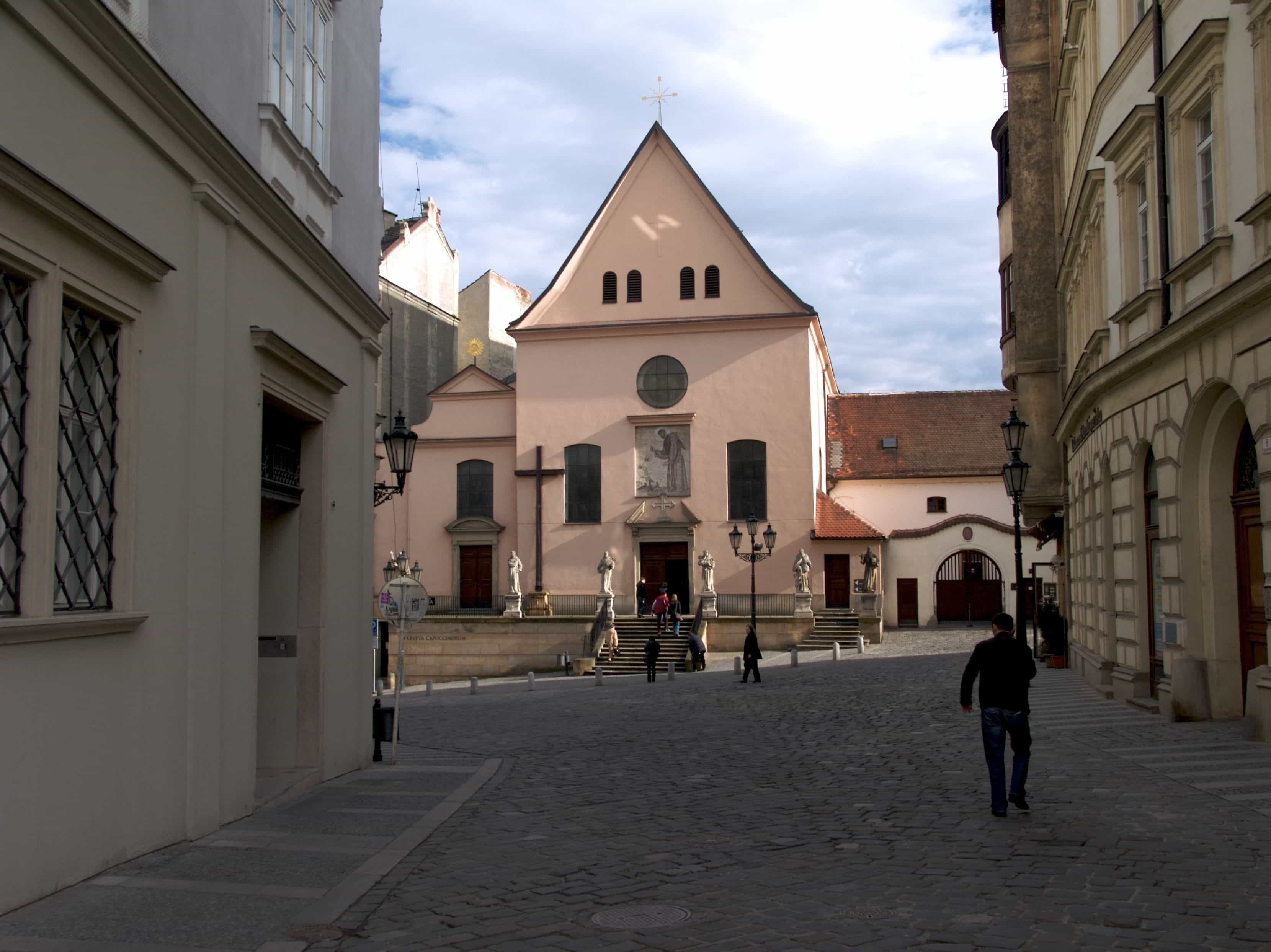 Capuchin Square in Brno, Czech republic, the Church of Finding the Holy Cross in Brno