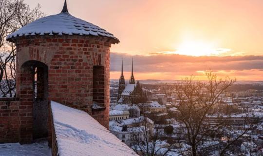Vyhlídka z hradu Špilberk v zimě, foto Pavel Gabzdyl