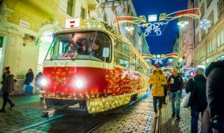Vánoce Brno vánoční šalina, neboli tramvaj