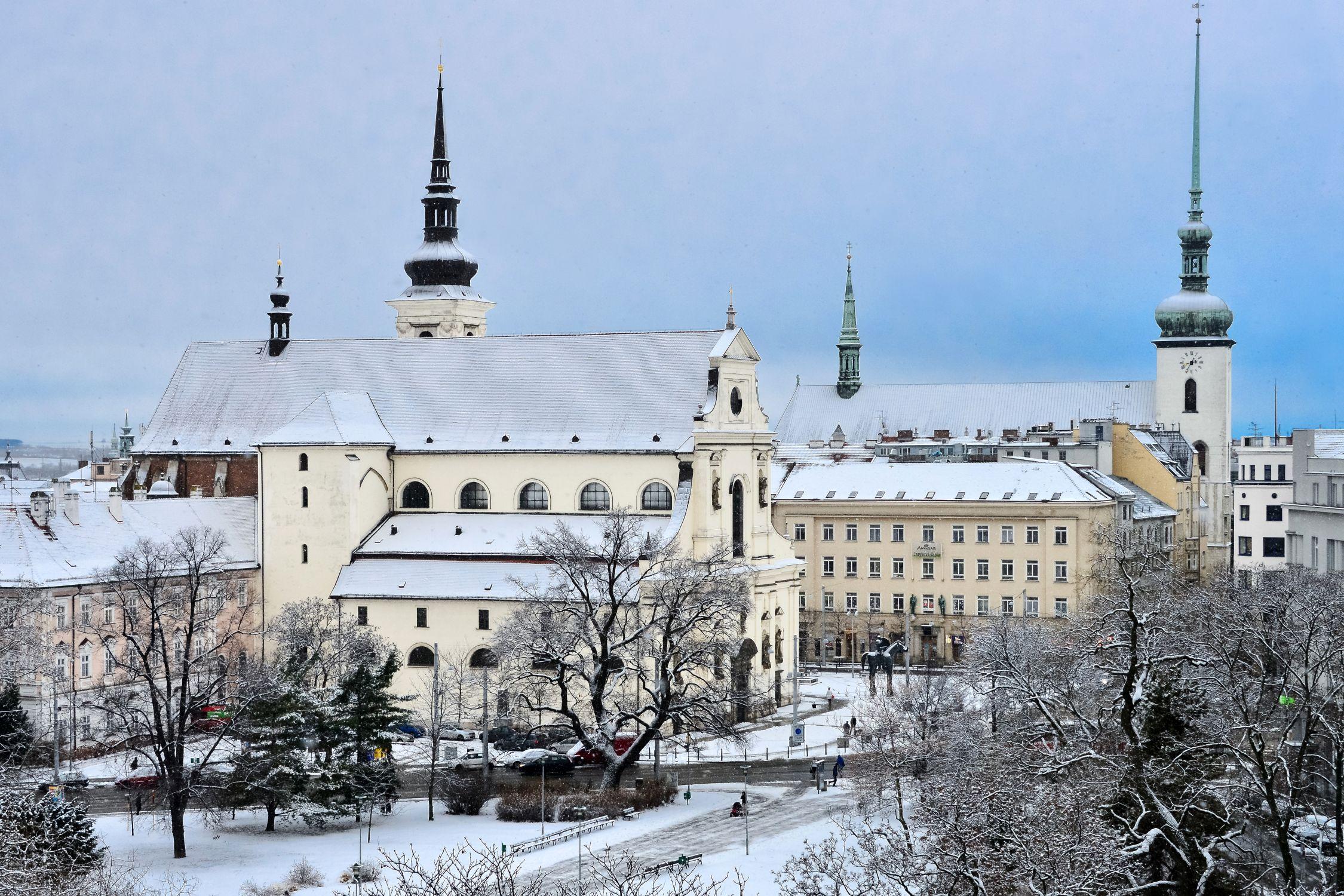 Moravian Square in Brno during winter