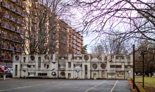 Betonová stěna od Čestmíra Kafky na Arbesově, (c) Františka Foto